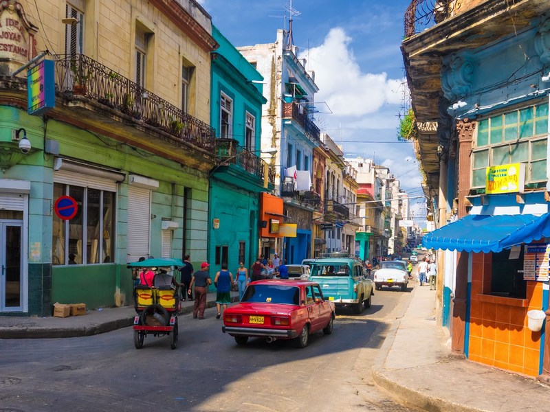 Colorful City Street in Cuba